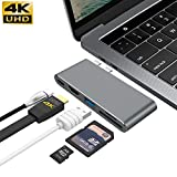 USB C Hub For MacBook Pro 13' & 15' 2016/2017,GIKERSY Aluminum Type C to 4K HDMI Combo Hub Adapter, Charging port, Thunderbolt 3 port, MicroSD/SDHC/SDXC Card Reader, USB 3.0 Port, USB-C port - Grey
