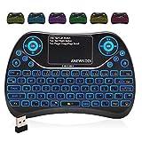 ANEWKODI Mini Tastatur Wireless mit Touchpad, Smart TV Tastatur Fernbedienung, 2.4 GHz Wireless Backlit QWERTY Mini Tastatur Beleuchtet für HTPC, IPTV, Android TV-Box, XBOX360, PS3, PC
