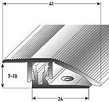 Alu Höhenausgleichsprofil mit APL-Klicksystem - 90cm, silber  7-10mm  Schrauben  Übergangsprofil für Laminat, Parkett & Teppich | Übergangsleiste, Bodenprofil für Fußböden | Übergangsschiene, Anpassungsprofil, Türschiene mit stufenlosem Ausgleich