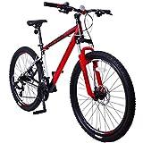 KRON XC-100 Hardtail Aluminium Mountainbike 29 Zoll, 21 Gang Shimano Kettenschaltung mit Scheibenbremse | 18 Zoll Rahmen MTB Erwachsenen- und Jugendfahrrad | Schwarz & Rot