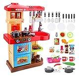 """deAO Kinder-Küchenspielset """"My Little Chef""""(""""Mein kleiner Koch"""") mit 30-teiligem Zubehör in den Farben Rot oder Pink erhältlich"""