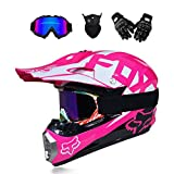 NBZH Dual Sport Motocross Helmet Motorcycle Off Road Dirt Bike ATV D.O.T AM Mountainbike-Langstreckenrennen Helmet/Multicolor Goggles/Mask/Handschuhe (Style 7),pink,M