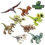 Baztoy Kinder Dinosaurier Figuren Spielzeug, 8PCS Dino Bausteine Spiele Sets Kunststoff Klein, Dinosaurier World Tiere Spielzeug Perfekt für Kindergeburtstag Party Dekoration, Jungen Mädchen Kinder