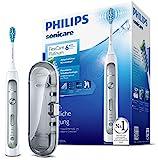 Philips Sonicare FlexCare Platinum Elektrische Zahnbürste mit Schalltechnologie HX9111/20, Drucksensor, Reiseetui, weiß