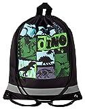 Aminata Kids - Kinder-Turnbeutel für Junge-n und Mädchen mit Jurassic T-Rex Urzeit-Tier Vulkan Dino-saurier Sport-Tasche-n Gym-Bag Sport-Beutel-Tasche schwarz-e