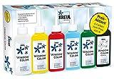 Kreul 42847 - Window Color Aktionsset, für kleine und große Kreative, 5 x 80 ml Fenstermalfarbe in weiß, gelb, rot, blau und grün, 80 ml Konturenfarbe in schwarz, Spezialfolie und Malvorlagen