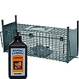 Lebendfalle Secure-M 64 cm + 100 ml Hagopur Marder Lockstoff - zuverlässige & sichere Tierfalle mit 2 Eingängen - sofort einsatzbereit & wetterfest - ideal für Marder, Kaninchen, Katzen, Ratten