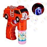 Relaxdays 10024935 LED Seifenblasenpistole Feuerwehr, batteriebetrieben, mit Seifenblasen Flüssigkeit, für Kindergeburtstag, rot