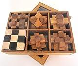 6 Knobelspiele im Set - Spielesammlung 3D Puzzle - Denkspiele - Knobelspiele - Geduldspiele - Logikspiele in edler Geschenkbox aus Holz mit transparentem Deckel
