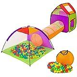TecTake Iglu Kinderspielzelt Spielhaus Kinderzelt mit Krabbeltunnel + 200 Bälle + Tasche