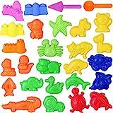 Toyvian Sand Form Spielzeug Kinder Sommer Strand Spielzeug Sand Spielset mit Schloss Tier Sand Formen und Werkzeuge, 27 Stücke (Zufällige Farbe)