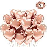 LAKIND Herz Folienballon Rosegold 20 Stück Herz Helium Luftballons Herzluftballons Heliumballon Folienballon Hochzeit Folienluftballon Geeignet für Geburtstag Brautdusche Valentinstag(Rosegold-20pcs)
