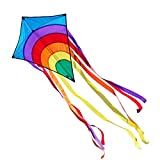 CIM Einleiner-Drachen - Rainbow Eddy BLUE - für Kinder ab 3 Jahren - Abmessung: 65x74cm - inkl. 80m Drachenschnur und 8x105cm Streifenschwänze