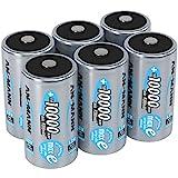 ANSMANN LSD Mono D Akkubatterie, 1,2 V / Typ 10000mAh / Hochkapazitiver NiMH Akku mit konstant hoher Leistungsabgabe & Langlebigkeit - ideal für Geräte mit hohem Stromverbrauch, 6 Stück