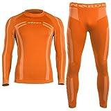 Norde Herren Funktionswäsche Thermoaktiv Atmungsaktiv Base Layer Set Outdoor Radsport Running (Orange, XXL)