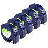 Ersatz DYMO Etikettenband Letratag Papier weiß 12mm x 4m Rolle (schwarz auf weiß) Nachfüller 91200 (S0721510) kompatibel für Dymo LT100H LT100T QX 50 XR XM 2000 Plus Beschriftungsgerät 5er Pack