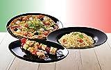 Luminarc 15888, Serie Italian Party black, Geschirrset Pizzateller 33cm 6 teilig