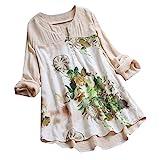 MRULIC Damen Langarm Shirt Beiläufige Lose Baumwolle Frühling Herbst Tops Solide Elegante T-Shirt Freizeithemd(A1-Beige,EU-48/CN-4XL)