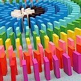 Eshowy Domino-Blocksatz, aus Lindenholz, mehrfarbig, 120Stück