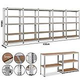 Yaheetech 5x Schwerlastregal Regal Steckregal Kellerregal 180 x 90 x 40 cm Metall verzinkt Regalsystem, Traglast bis 175 kg pro Fachboden