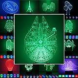 3D Lampe 3D Leuchte 3D LED Stimmungslicht. 7 Farben - 81 verschiedene Motive, hier Rasender Falke ca.25x15cm inkl.Socke - 3D Illusion Dekolicht mit USB Anschluß und 220V USB Netzteil