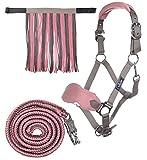 HKM Sports Equipment HKM Halfter mit Strick Panik & Fliegenfransen, mokka/milky pink, Vollblut