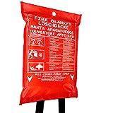 Löschdecke, 120 x 120 cm große Feuerlöschdecke, DIN EN 1869 Brandschutzdecke für Zuhause & Freizeit. 100% Glasfaser in roter Schutzhülle. Sofort-Hilfe.