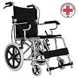 MedicalPharm Faltbarer Kinderwagenaufsatz für freistehende Rollstuhl mit Bremshebel, Gestell aus Aluminium mit doppeltem Kreuz, Tasche für Gegenstände, 86 x 58 x 93 cm, Tragkraft 150 kg, Schwarz