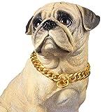 PROSTEEL Hundehalsband Starke Edelstahl Kette 19MM Kragen Panzerkette Trainings Kragen Halskette für Hund Gold Haustier Hals Seil, Länge 51cm