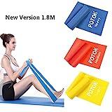 Potok Premium Gymnastikband Set – 3 Fitnessbänder – Extra lange (1.8m) Übungsbänder für Yoga, Pilates, Reha-Sport, Physiotherapie und mehr – Widerstandsbänder- | Leicht | Medium | Stark
