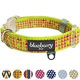 Blueberry Pet 1,5cm S Bunte Dreiecke Designer Limette Neopren Gepolstertes Hundehalsband, Klassische Designer Halsbänder für Kleine Hunde