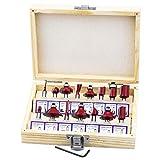 Hseamall 15-teiliges Fräser-Set, 0,6 cm Schaft, Wolframcarbid, Holzfräser, Werkzeuge mit Schraubenschlüssel