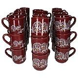 MamboCat 36er Set Glühweinbecher 0,2L rot Weihnachtslandschaft | Klassische Porzellan Glühweintassen | geeicht | ideal für den Weihnachtsmarkt - den Profi & Gastronomiebedarf