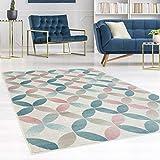 carpet city Teppich Flachflor Inspiration mit Geometrischen Muster, Marokkanischer-Stil mit Pastellfarben, Blau, Rosa, Creme, Beige für Wohnzimmer, Größe: 160x230 cm