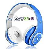 Kabellose Bluetooth Kopfhörer für Kinder Jugendliche ab 5 Kabelloser Kopfhörer over Ear mit Lautstärkebegrenzung inkl. Radio on Ear drahtloser faltbarer Kopfhörer mit Mikrofon Hifi Stereo blau