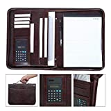 Leathario A4 Schreibmappe Dokumenten-Mappe Business-Notebook Konferenzmappe Reißverschluss inkl. Schreibblock KaffeBraun