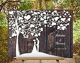 Hochzeitsbaum Hochzeitsgeschenk für Brautpaar, Hochzeit Gästebuch, Wedding Tree Alternative Gästebuch, Hochzeitsgästebuch für Fingerabdruck und Unterschrift 70x50 cm
