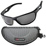 ZILLERATE Polarisierte Sonnenbrille für Herren und Damen, UV Schutz, Leichter Unzerbrechlicher Rahmen, zum Radfahren Skifahren Autofahren Fischen Laufen Wandern Sport, Etui und Brillenbänder, Schwarz