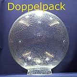 Doppelpack - 2 Kugel Blasenglas Ersatzglas Lampenschirm Glas f.Außenleuchten Ø215mm mit Kragenrand Ø90mm