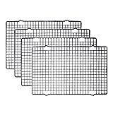 Tebery 4 Stück Edelstahl-Grillrost & Auskühlgitter, passt auf Backbleche für das Backen von Keksen und Kuchen, Räuchern, Grillen, Auskühlen - Rost- Resistent & Ofenfest 40,6 x 25,4 cm