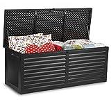 Plonos Auflagebox Gartenbox Gartentruhe mit Sitzfunktion 143 x 57,5 x 51 cm 390 Liter