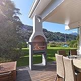 Festnight Holzkohlegrill Grillkamin | Standgrill | mit Einer verchromten Kochpalette mit Griffen | mit einem Kamin | Beton 76 x 43 x 195,5 cm