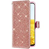 Uposao Kompatibel mit iPhone 6S 4.7 Hülle Leder Tasche Handyhülle Glitzer Bling Strass Diamant Muster Brieftasche Schutzhülle Flip Case Klapphülle Magnet Ständer Kartenfach,Rose Gold