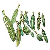 JulieWang 28x gemischte Bronze-Anhänger in Form von Federn, zur Schmuckherstellung, antiker Look
