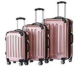 BEIBYE Zwillingsrollen 2048 Hartschale Trolley Koffer Reisekoffer in M-L-XL-Set in 17 Farben (Rosa Gold, SET)