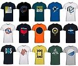 JACK & JONES Herren T-Shirt Slim Fit mit Aufdruck im 3er Oder 6er Mix Pack/Set mit Rundhals Marken Sale S M L XL XXL Gratis Wäschenetz von B46 (3er Mix Pack, M)