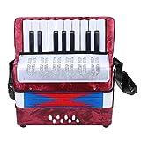 Dilwe Akkordeon, Mini Kleine 17 Tasten 8 Bass Akkordeon Pädagogisches Musikinstrument Spielzeug für Anfänger Kinder Bildung(Rot)