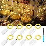 Nasharia 8er 2M 20 Micro LED Lichterkette Kupfer mit Batterie,Drahtlichterkette IP67 Wasserdicht Lichterkette für Party Garten Weihnachten Halloween Hochzeit Beleuchtung Deko(mit 8 Stück Batterien)