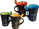 Fineway @ livivo Set von 4Kaffeetassen mit Löffel Tee-Set Drink Latte Tassen Keramik Küche Espresso
