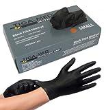 Nitrilhandschuhe puderfrei schwarz Tiga Black 100 Stück Größe Large ohne Latex Einmalhandschuhe Nitril Einweg- Handschuhe Tiga-Med